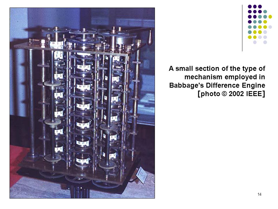 A small section of the type of mechanism employed in Babbage s Difference Engine [photo © 2002 IEEE]
